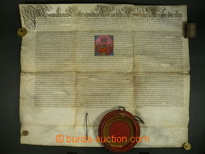 100451 - 1694 Listina Leopolda I. z r. 1694, pergamen 93x73 cm, velká