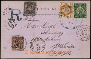 100805 - 1897 R-pohlednice na Moravu, vyfr. zn. Mi.38, 40, dofr. zn.