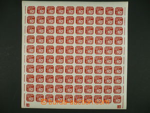 101030 - 1939 Pof.NV5, 10h red, 100-stamps sheet with margin and plat