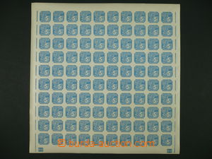 101039 - 1939 Pof.NV2, 5h blue, 100-stamps sheet with margin and plat