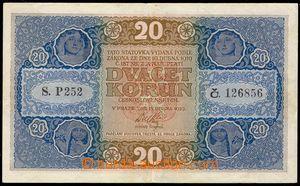 101801 - 1919 ČSR I.   Ba.10a, 20Kč, série P, kvalita 1-2