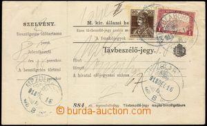 102440 - 1918 celá telefonní karta, tisk č. 884, vyfr. zn. Karel 20f