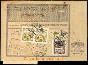 102525 - 1920 balíková průvodka ze zahraničí, zatíženo doplatným 155h