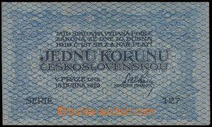 102540 - 1919 ČSR I.  Ba.7, 1Kč Republika československá, série 127,