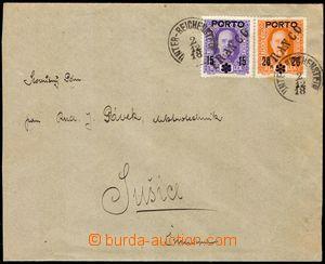 103017 - 1918 dopis vyfr. rakouskými doplatními zn. Mi.61 a 62 s šikm