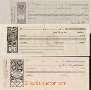 103060 - 1924 ČSR I., RAKOUSKO  sestava 3ks nepoužitých šekových pouk