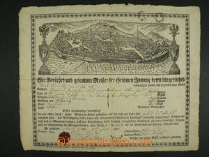 103146 - 1825 MISTROVSKÝ LIST / BRNO  mistrovský list s vedutou Brna,