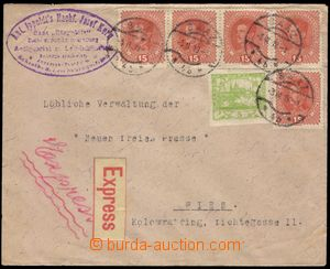 103256 - 1919 Ex-dopis vyfr. smíšenou frankaturou rakouských zn. 15h
