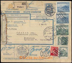 103305 - 1939 poštovní balíková průvodka s kolkem 50h, větší díl bez