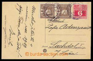 103422 - 1918 pohlednice vyfr. souběžnou frankaturou zn. novinová Mi.