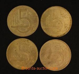 103577 - 1928-32 ČSR I.  sestava 4ks mincí 5Kč Ag, 1928, 1929, 1930,