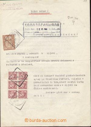 103663 - 1939 FISKÁLNÍ POUŽITÍ  formulář vyfr. 6-blokem zn. Pof.303 a