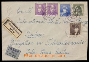 103873 - 1945 Reg and airmail letter to Switzerland, with London issu