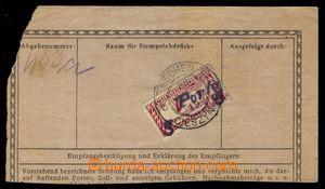 104623 - 1919 ústřižek balíkové průvodky vyfr. rakouskou spěšnou zn.