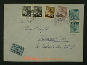 104630 - 1945 airmail letter to USA, with one issue Pof.372 2x, 373,