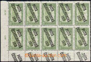 105774 -  Pof.113, Parlament 80f zelená, pravý dolní rohový 10-blok,