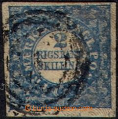 105905 - 1852 Mi.2 II., 2S modrá RIGSBANK-SKILLING, TD 1/ ZP 63, velm