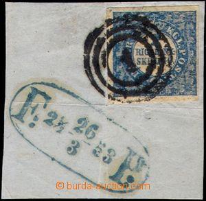 105906 - 1852 Mi.2 II., 2S modrá RIGSBANK-SKILLING, TD 2/ ZP 69, velm