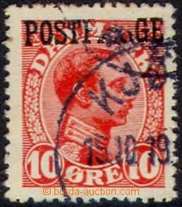 105988 - 1919 Mi.1, 10Ö červená s přetiskem POSTFARGE, se zajímavou T