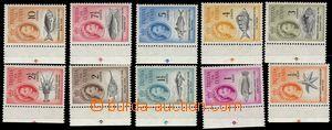 106257 - 1961 Mi.42-54, Mořští živočichové a Alžběta II., kat. 120€