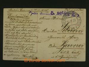 106427 - 1920 Czechosl. infantry reg. No. ?, violet straight line pos