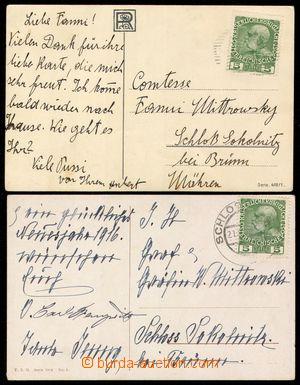 107601 - 1916 HAUGWITZ Karl (1892–1995), sestava 2ks pohlednic adreso