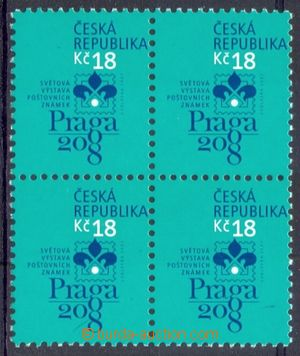 107938 - 2007 Pof.539, Praga 2008, block of four, shifted perforation
