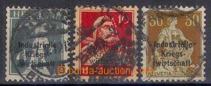108636 - 1918 Mi.3 II., 4 I. a 8 II., služební známky s přetiskem Ind