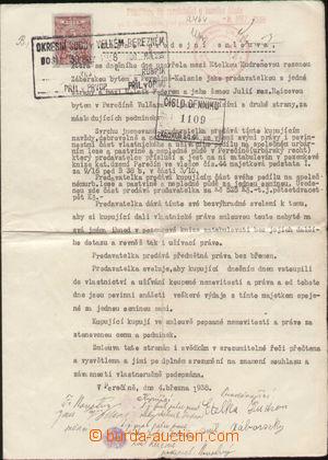 108669 - 1938 ČSR I. / PODKARPATSKÁ RUS  kupní smlouva s listinným ko
