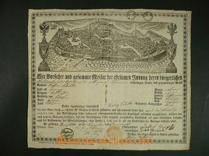 108975 - 1828 MISTROVSKÝ LIST / BRNO  mistrovský list s vedutou Brna,