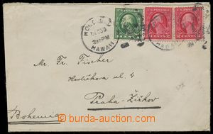 109090 - 1916 HAVAJ  letter to Prague with Washington 1c green, 2c re
