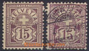 109141 - 1906 Mi.87, výplatní 15c, 2ks, 1x neupotřebená + 1x ražená,
