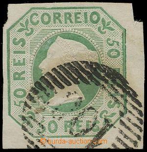 109551 - 1853 Mi.3a, Královna Maria II., 50R zelená, atypický střih,