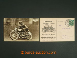 110325 - 1929-49 DOPRAVA  sestava 2ks pohlednic, JAWA, závodník Vitva