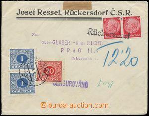 110543 - 1939 firemní dopis vyfr. zn. 12+12Pf Hindenburg, provizorní