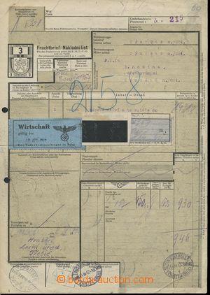 111187 - 1942 ČaM  nákladní list s vtištěným kolkem 3K do Týniště n./
