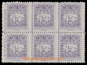 111431 - 1954 Pof.D89A, 2Kčs violet, marginal block-of-6, shift vert