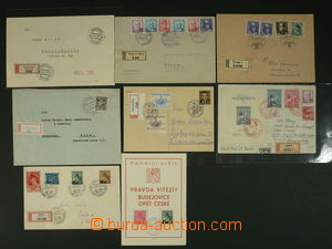 111446 - 1945-49 comp. 8 pcs of entires, contains i.a. Reg letter to