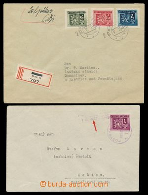 111524 - 1945 comp. 2 pcs of letters with Bratislava issue, 1x Reg le