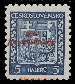 112799 - 1939 Alb.2Pp, Coat of arms 5h blue, red inverted overprint,