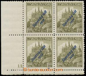 112825 - 1939 Alb.15, Kutná Hora 1,60Kč, dolní rohový 4-blok s DČ 1A,
