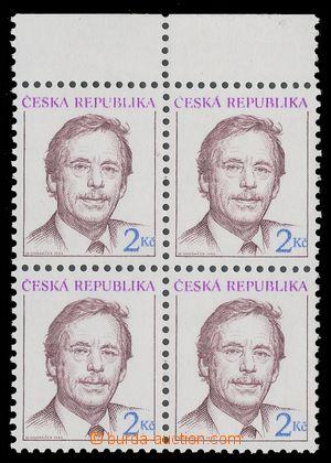 112832 - 1993 Pof.3, Havel, krajový 4-blok, světlejší hnědá, slabý ti