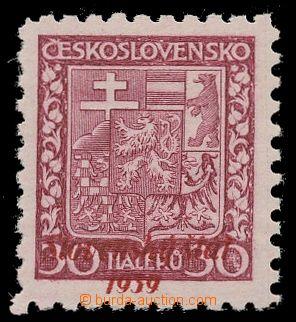 112845 - 1939 Alb.6, Znak 30h fialová, neoficiální přetisk v červené