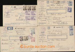 112925 - 1945-46 sestava 4ks celých balíkových průvodek vyfr. zn. výp