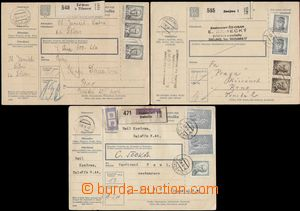 112926 - 1946 comp. 3 pcs of whole parcel cards with postage issues a