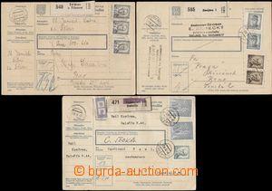 112926 - 1946 sestava 3ks celých balíkových průvodek vyfr. zn. výplat