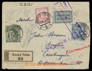 113037 - 1946 RETURNED MAILING  Reg and airmail letter to England fra