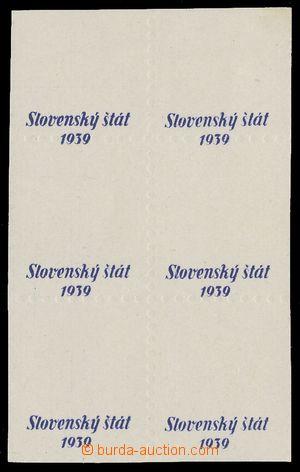 113120 - 1939 ZT přetisku, druh A v modré barvě, 6-blok, na lehce kré