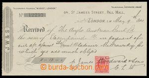 113215 - 1900 VELKÁ BRITÁNIE  šek Anglo-rakouské banky na jméno hrabě