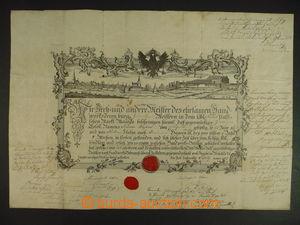 113237 - 1827 MISTROVSKÝ LIST / MALACKY  mistrovský list s vedutou mě